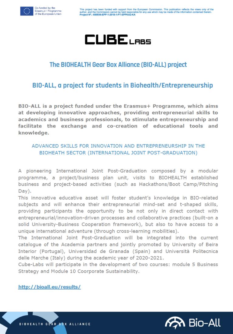 Bio All international post graduation programme Cube Labs